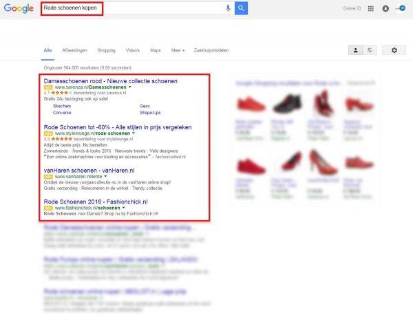 Google zoekresultaten rode schoenen kopen